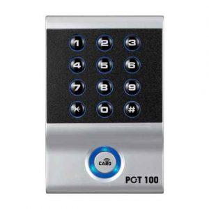 Lector RFID Controlador de Acceso PCT-100-E. Trabaja con clave numérica y/o llaveros y tarjetas de proximidad 125 KHz.